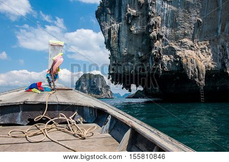 Prow of long tail boat with beautiful sea view and blue sky in Krabi, Thailand