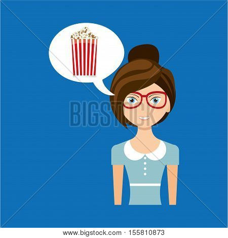 beautiful girl concept cinema movie pop corn icon vector illustration eps 10