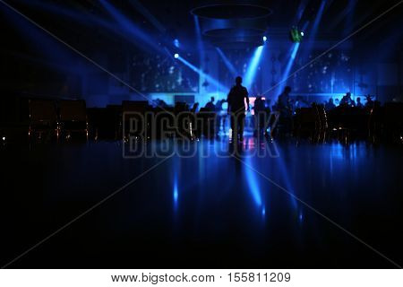 restaurant photo.ballroom photo.wedding partypeople dance in wedding party black photo