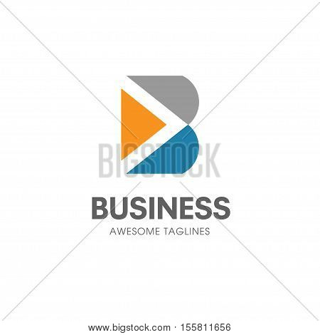 creative B letter with arrow logo concept  Vector template, abstract business letter B arrow