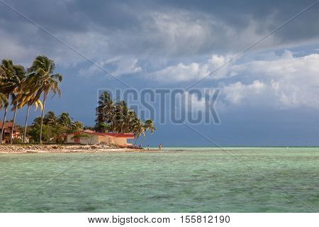 Cozy villa on Cayo Guillermo tropical island, resort waterfront beach landscape view, Cuba vacation