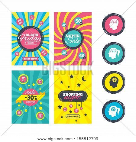Sale website banner templates. Head with brain icon. Male and female human think symbols. Cogwheel gears signs. Woman with pigtail. Ads promotional material. Vector
