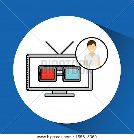 happy woman cartoon cinema concept tv glasses vector illustraion eps 10