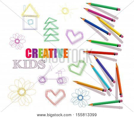 creative template for art studio laboratorycourses for kids. colored pencils and drawings.