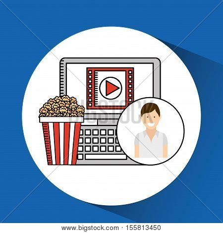 happy woman cartoon cinema online fast food vector illustraion eps 10