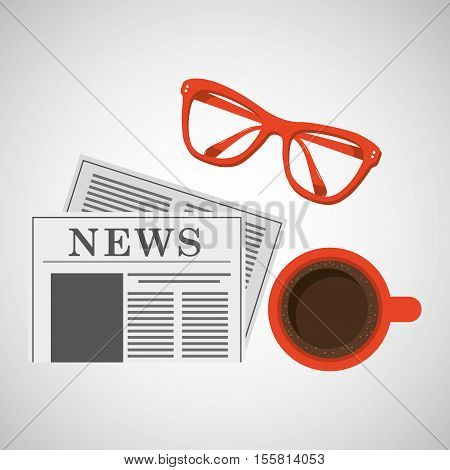 news paper cup coffee and glasses design vector illustration eps 10