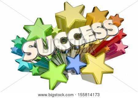 Success Stars Celebration Succeed Mission Goal 3d Illustration