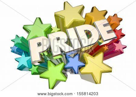 Pride Stars Showing Proud Feelings Emotion 3d Illustration