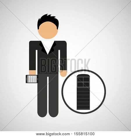 man smartphone and news microphone design vector illustration eps 10