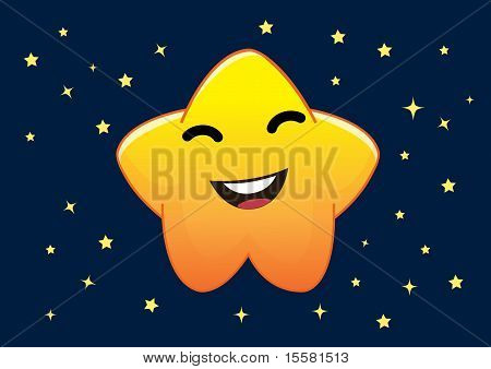 Funny Star Cartoon Character Illustration In Vector