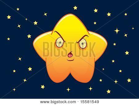 Grunge Star Cartoon Character Illustration In Vector