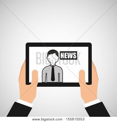 hands holding tablet journalist news vector illustration eps 10