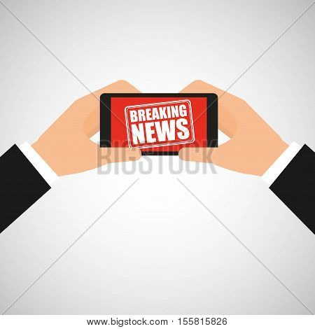 news breaking hand hold smartphone icon vector illustration eps 10