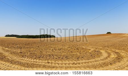 on a plowed field agricultural land intended for planting and growing food, the blue sky and the traces of the tractor