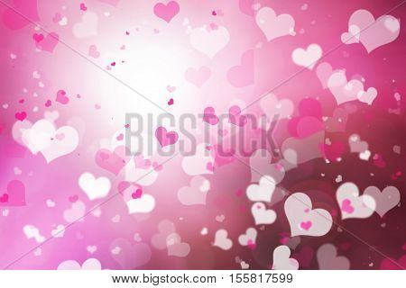 Blur pink white pastel hearts love bokeh. Abstract blurred background valentine's day happy concept. Valentines Day Card of february. Glowing corazones red light gradient.