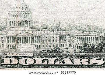 photographed close-up American dollars, small depth of field, banknote worth fifty dollars,