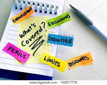 Understanding insurance coverage words, terms written on a notepad as a colorful checklist of things to ask what's covered by policy to an insurance company or representative about home or car insurance policy terms and conditions or in a claim situation
