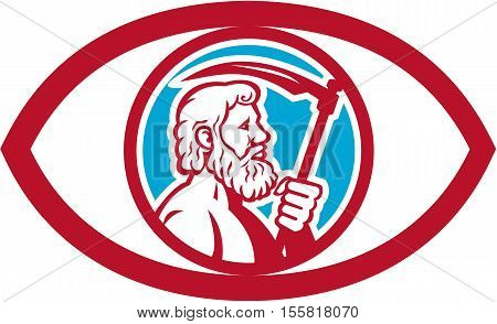 Illustration of Cronus or Kronos Greek God and leader of Titans holding a scythe or a sickle viewed from the side set inside an eye on isolated background done in retro style.