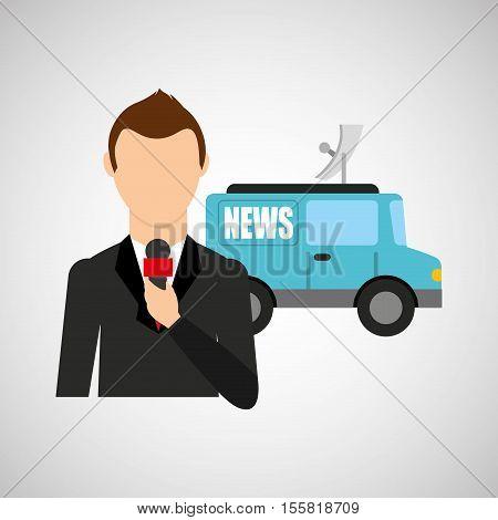 reporter man truck news design vector illustration eps 10