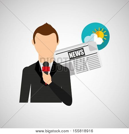 reporter man weather forecast news meteorologist design vector illustration eps 10