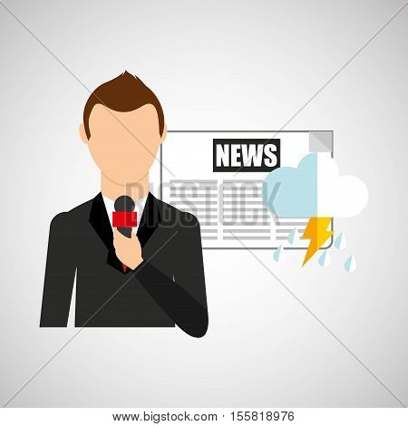 reporter man weather forecast newspaper design vector illustration eps 10