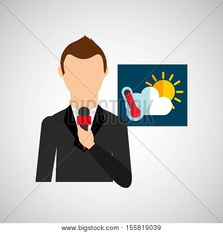tv news weather reporter meteorology icon vector illustration eps 10