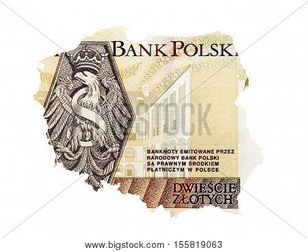 photographed close-up bill costing two hundred Polish zloty