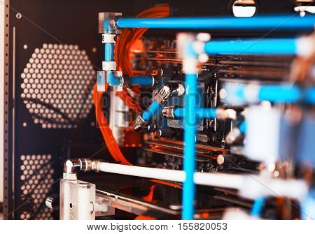 Inside water cooled high performance workstation bokeh backdrop hd