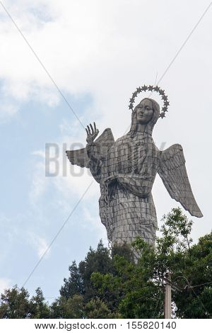 February 1, 2013 Quito, Ecuador.This unique winged virgin statue made of aluminum panels sits at the top of the hill and can be see all over the Capitol city of Quito Ecuador