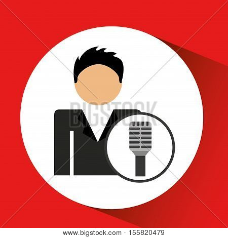 man smartphone and news old microphone design vector illustration eps 10