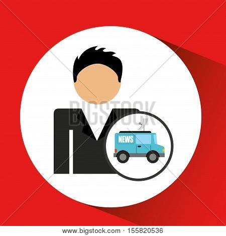man smartphone and news tv car design vector illustration eps 10