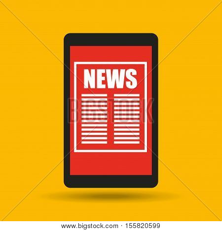 hand holding smartphone news connected design vector illustration eps 10