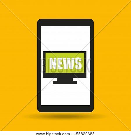 hand hold cellphone online news design vector illustration eps 10