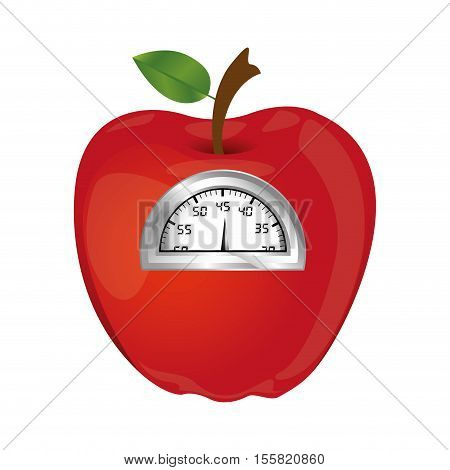 apple and weight scale icon image vector illustration design