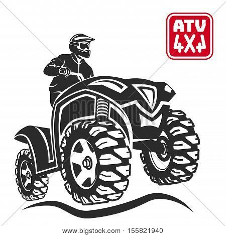 ATV emblems, badges and icons. All-terrain vehicle off-road design elements.