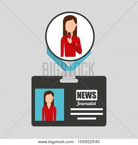 woman journalist card news graphic vector illustration eps 10