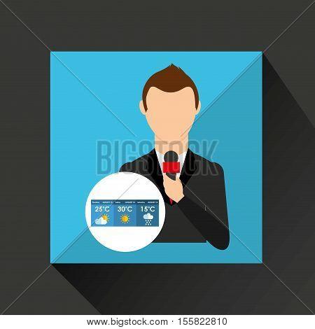 reporter man weather forecast news design vector illustration eps 10
