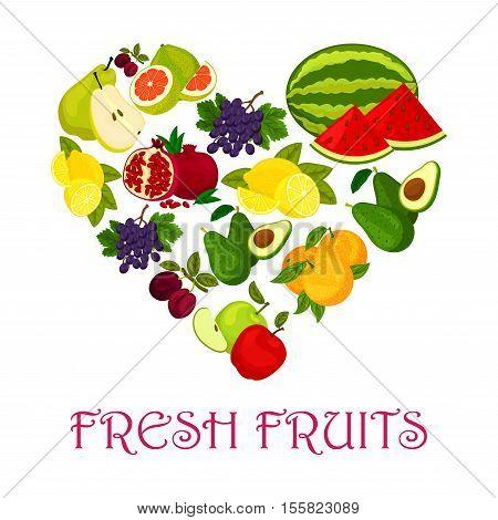 Fresh fruits heart. Vector symbol of watermelon, orange and avocado, pomegranate, plum, grape and lemon, pomelo. Fruit love badge of ripe fruits