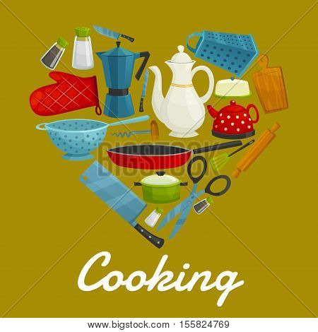 Cooking sign of vector kitchenware flat icons. Heart symbol of isolated kitchen utensils coffee maker, grater, cooking glove, knife, hatchet, scissors, tea pot, sauce and frying pan, spatula, pitcher, cuting board, rolling pin, salt, pepper