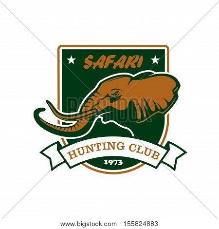 Hunting sport club team symbol. Safari hunt badge of green shield, elephant tusk, ribbon icons. Vector sign for africa hunting sport