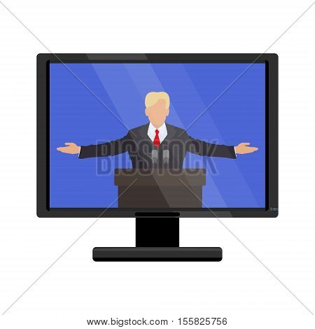 Famous person behind the podium on the monitor screen. Vector illustration of flat
