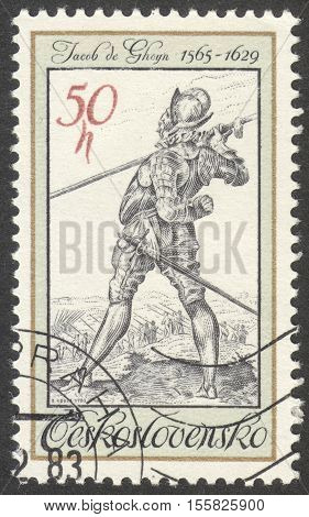 MOSCOW RUSSIA - CIRCA OCTOBER 2016: a stamp printed in CZECHOSLOVAKIA shows a bodyguard of King Rudolf II Jacob de Gheyn the series