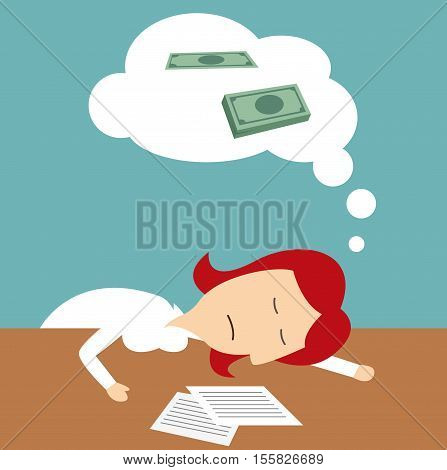 Office manager sleeping on table and dreaming of money. Business metaphor with woman tired of office, overwork to earn much money in dreams. Lazy student learning to get money
