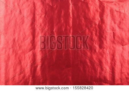 Abstract Bright Red Shiny Folded Paper Texture Background