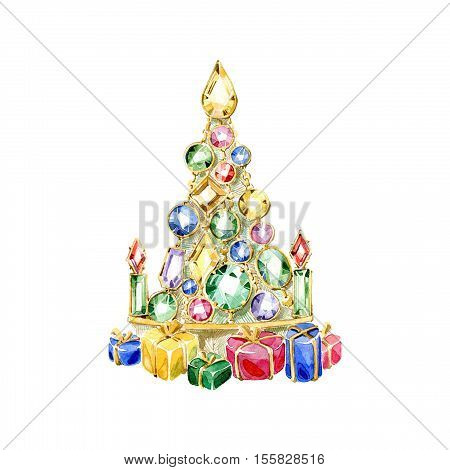 Hand drawn watercolor christmas tree of connected colored gemstones with beautiful multi-colored gift boxes. Watercolor illustration.