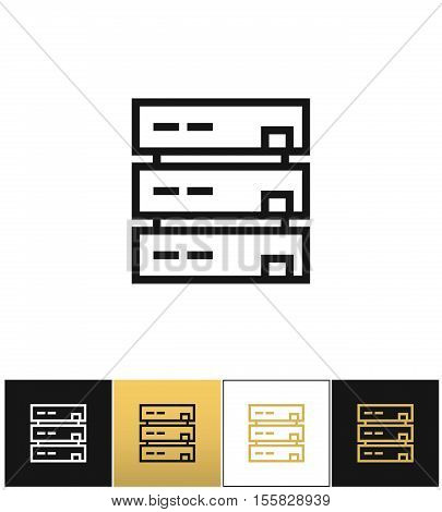 Server or computer data storage vector icon. Server or computer data storage pictograph on black, white and gold background