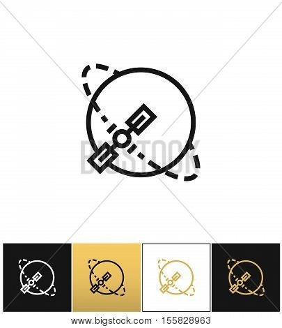 Silhouette navigation earth broadcast vector icon. Silhouette navigation earth broadcast pictograph on black, white and gold background