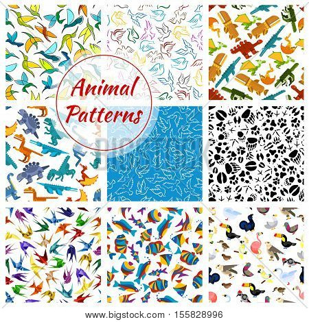 Cartoon dinosaur, animal, fish, bird, footprint patterns. Vector seamless background of colibri, flamingo and crocodile, swan and swallow, parrot and t-rex, woodpecker and triceratops, pigeon, falcon, pterodactyl, brontosaurus and dove, turkey and tyranno
