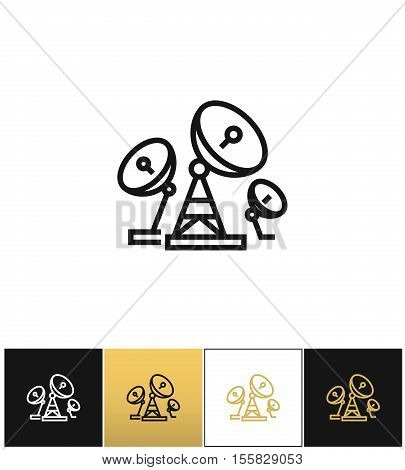 Telecommunications or radio broadcasting antenna vector icon.