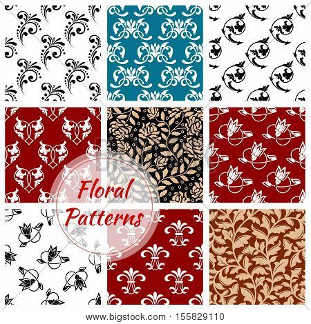 Floral seamless patterns set of flowery decoration backgrounds. Ornate flourish decor tiles with graphic flower ornament. Damask motif, arabesque luxury tracery
